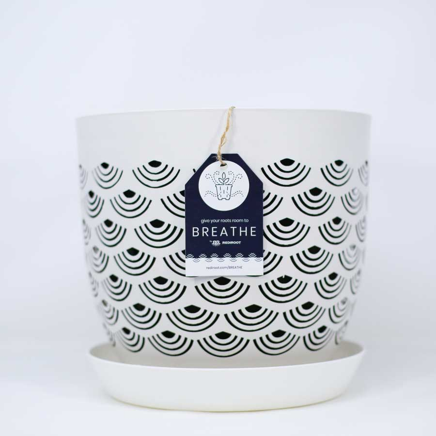 BREATHE Pearly White indoor plant pot